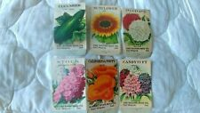 6 Vintage Empty Flower & Vegetable Seed Packets Wayne Seed Co Fort Wayne Ind