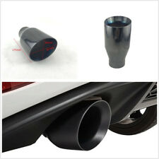 "2.5"" Inlet Stainless Steel Titan Black Autos Round Exhaust Pipe Tip Tail Muffler"