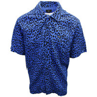 OBEY Men's Blue Leo Leopard Print S/S Shirt (Retail $59.99) S14