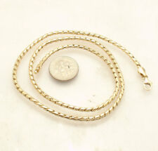 "18"" Round Shiny Cuban Link Chain Necklace Lobster Clasp Real 14K Yellow Gold"