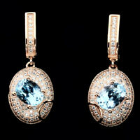Deluxe Oval Cut 8x6mm Top Sky Blue Topaz White Cz 925 Sterling Silver Earrings