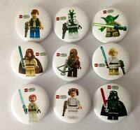 NEW Lot of 9 Lego Star Wars Badges - 3cms diameter - Party loot bags favours