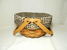 Longaberger 2009 Round Potluck Basket Combo with Khaki Check Liner and Protector