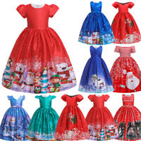 5-15T Kids Girls Christmas Cartoon Princess Pageant Gown Party Wedding Dress