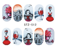 Nail Art Stickers Water Decals Transfers Romantic Red Wine (DS512)