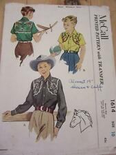 MCCALLS 1951 VINTAGE SEWING PATTERN SZ 10 KIDS WESTERN COWBOY SHIRT + TRANSFERS