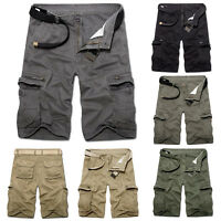 Summer Men's Pants Casual Beach Shorts Multi-Pocket Cargo Baggy Army Trousers
