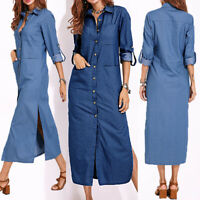 ZANZEA Femme Dresse Manche Longue Col V Denim Jean Loose Longueur Robe Midi Plus