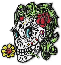 Sugar Skull Betty Embroidered Patch / Iron On Applique, Artist Reed