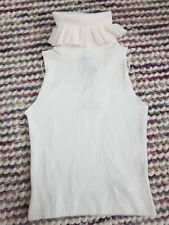 Ladies BOOHOO Knitted Top Size S Cream White Frill Turtle Neck Collar Sleeveless