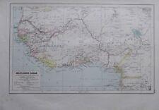 Karte aus 1889 - Westlicher Sudan - alte Landkarte old map