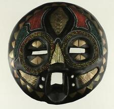 Vintage Ethnic AFRICAN Carved Wooden Bead & Copper Inlay Wall Hanging Mask