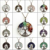 Natural Amethyst Labradorite Garnet Chip Wire Wrap Tree of Life Pendant Necklace