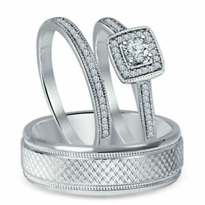 His & Her 2Ct Diamond 14K White Gold Over Engagement Wedding Band Trio Ring Set