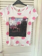Ladies Brand New H & M Pink Spotty T-Shirt With Motif UK Size 8