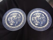 2 churchill england willow pattern dinner plates multiple pairs available