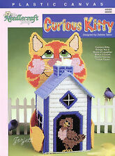 Curious Kitty ~ Birdhouse & Cat Boutique Tissue Cover plastic canvas pattern OOP