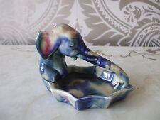 VINTAGE con Ceramica Multi Blu Elefante Vassoio Piatto 14cm di lunghezza