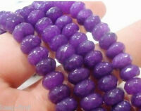 """Natural 5x8mm Faceted Rondelle Shape Purple Jade Gemstone Loose Beads Strand 15"""""""
