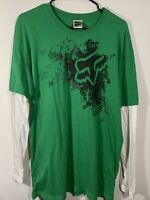 Fox Racing Long Sleeve Men's T-Shirt - Size XLarge Green With White Sleeves EUC