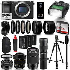 SonyAlpha a6300 Mirrorless Black Digital Camera with 16-800mm Lens Bundle Kit