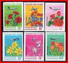 GABON 1971 TROPICAL FLOWERS / ORCHIDS, ROSES MNH PLANES