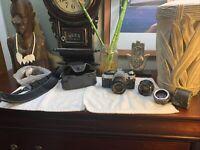 Canon AE-1 Program 35mm SLR Film Camera +Canon 50mm 1.8 lens +Accessories LOT