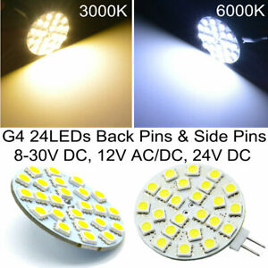 G4 LED Bulbs 24LEDs 5W Back Pins Side Pins Boat Deck Lamp Replace Halogen Lamps