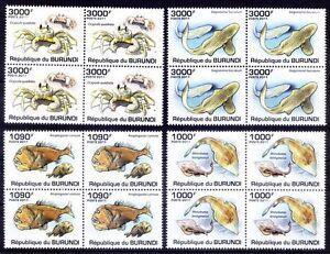 Fish, Crab, Marine Life, Burundi 2011 MNH 4v in Blk