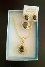 High Quality Green Sapphire Jewelry Set 18K Gold Plated from Thailand