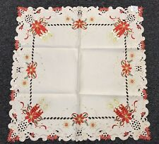 """Embroidery Christmas End Table Topper Coffee Table Tablecloth 36x36"""" - Beige"""