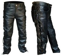 "Men's Thick Leather Side Laces Jeans Style Pant New Sizes 28"" to 52"" Custom"