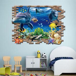 3D Ocean Dolphin Removable Vinyl Decal Wall Sticker Art Mural Room Window Decor