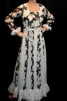M~L VTG 60s 70s B/W FLORAL SHEER VOILE CROCHET LACE LONG MAXI HIPPIE BOHO DRESS