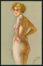 art Yves Diey nude woman all natural Parisian prostitute original 1920s postcard