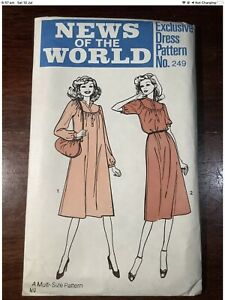 New Vintage NEWS OF THE WORLD Misses Dress Pattern 249 Size 10-18
