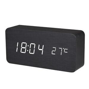 BALDR B929 Wooden Alarm LED Digital Clock with Temperature Display Sound Control