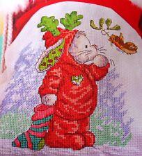 Christmas Bunny, Bird, Mistletoe, Children Cross Stitch Craft Pattern OOP