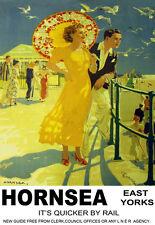 Hornsea East Yorks A Stroll on the Promenade LNER Train Rail Travel Poster Print