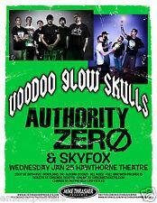 Voodoo Glow Skulls / Authority Zero 2012 Portland Concert Tour Poster -Ska Core