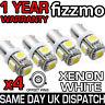 4x 5 SMD LED XENON WHITE SIDE LIGHT BULB 433c 433 434 H6W BAX9S CAP BAYONET UK
