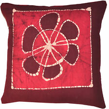 "Handmade Batik 16"" Pink Cushion/Pillow Cover Sofa Throw Indian Decorative Art"