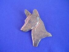 Pewter Basenji Head study necklace #40J African Dog Jewelry by Cindy A. Conter