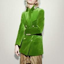 Occident Ladies Green Blazers Formal Party Velvet Mid Long Coats Jackets Party