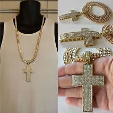 Iced Out Hip Hop Lab Simulated Diamond Gold Cross Pendant 2 Row Chain Necklace