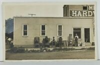 Sheldon Iowa RPPC Hardware Store & JJ Leverich Plumbing Real Photo Postcard O6
