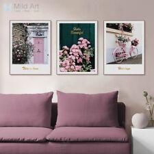 Pink Rose Flower Bike Garden Poster Print A4 Home Decor Wall Art Canvas Painting