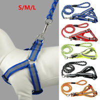 Nylon Reflective Dog Leash Harness Lead Collar and Safety for Pets Puppy Collars