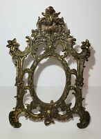 Vintage Art Nouveau Ornate Brass Stand Up Picture Frame / Vanity Mirror 12 1/4""