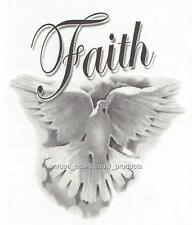 DOVE FAITH WHITE WITH GREY TONES Temporary Tattoo